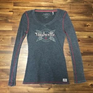 Nashville Grey & Red Long Sleeved Thermal Top